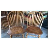 "2 Oak Dining Chairs Spindle Backs 36"" Tall Same"