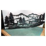 "Stamped Metal Wilderness Scene 35"" Wide"