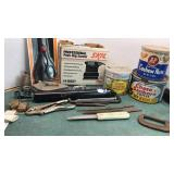 Collection of Cans, Hand Tools, Vise Grip Pliers,