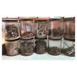 10 Glass Jars With Metal Lid and Collection of