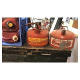 2 Galvanized and 2 Plastic Gas Cans