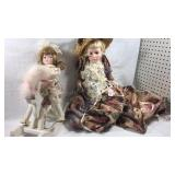 Doll on rocking horse and boudoir doll with long