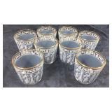 Set of 8 gold rimmed glasses