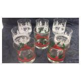Group of eight Christmas glasses