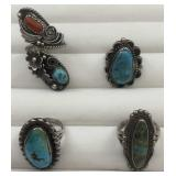 4 Silver & Turquoise/ Simulated Turquoise Rings