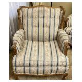 Tufted Fabric Wooden Frame Patterend Easy Chair