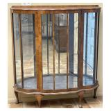 Scalloped Front Mirror Back Wooden Display Cabinet
