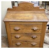 3 Drawer Oak Chest Of Drawers W/ Carved Handles