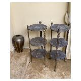 2pc Cast metal three tear round display shelf,