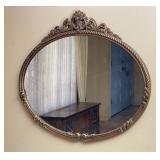 Goldtone Metal Framed Oval Wall Mirror