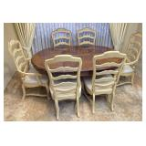 Wooden Pedestal Dining Room Table, 6 Chairs, Leaf