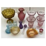 Assorted Glass, Glassware, Footed Bowls, Vase