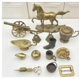 Brass Collectibles: Horse, Cannon, Misc. Decor