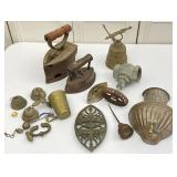 Cast Sad Irons, Metal Collectibles, Bell, Sconce