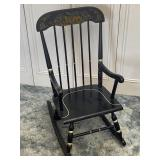 Black Toll Painted Childrens Musical Rocking Chair