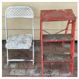 White Folding Chair, Step Stool