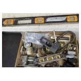 Assorted Measure Tapes, Padlocks, Level, Clamps