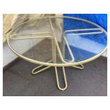 """48"""" Round Patio Table With Glass Top Metal Base"""