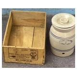Wooden fruit crate, Marshall pottery Lidded crock
