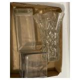3pc 5, 9, 10 Inch High Glass Vases