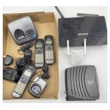 Modem, Router, Uniden Cordless Telephone System