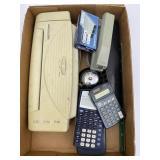 Calculator, Stapler, Paper Shredder