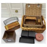 Woven Baskets, Wooden Box, Desk Organizer