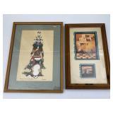 2pc Framed Art: Southwest Scene, Kachina
