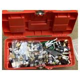 Box Of Legos And Lego Parts And Pieces