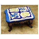 Metal base Cross stitch pattern ottoman/ footstool