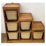 3 Tier Wicker Woven Basket Storage Unit