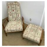 Wooden Frame Fabric Chair With Matching Ottoman
