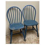 2pc Blue/ Green Painted Wooden Spindle Chairs