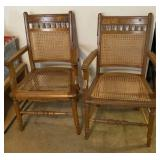 2pc Wooden Frame Cane Seat Chairs