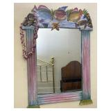 Hand Carved And Painted Wooden Fish Framed Mirror