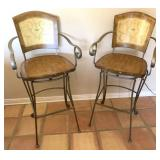 2pc Swiveling Metal And Wood Barstools