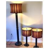 2pc Table Lamps, Metal Base Floor Lamp