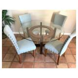 Glass Top Wooden Base Dining Room Table 4pc Chairs