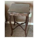 Hand Carved Square Wood Inside/ End Table
