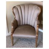 Striped Fabric Wooden Frame Easy Chair
