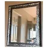Large Silver Tone, Black Framed Beveled Mirror