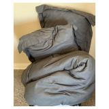Queen Size Gray Throw, Pillows, Shams