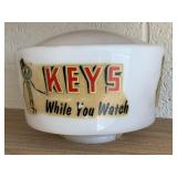 Vintage - Keys While You Watch - Milk Glass Globe