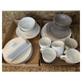 Assorted Dishes: White Ceramic, Gray Ceramic