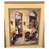 Framed Print: European Bistro Scene