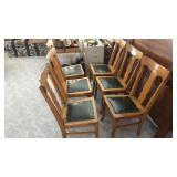 Six wooden chairs with leather seat