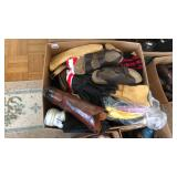 Box of clothing, boots and winter wear
