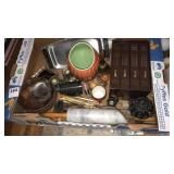 Box of miscellaneous with rolling pin