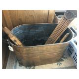 Copper bucket with cabbage cutter and drying rack