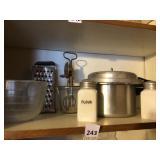 Vintage kitchen, pressure cooker, canisters